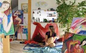 Im Atelier Hofmann, Malen mit Modell